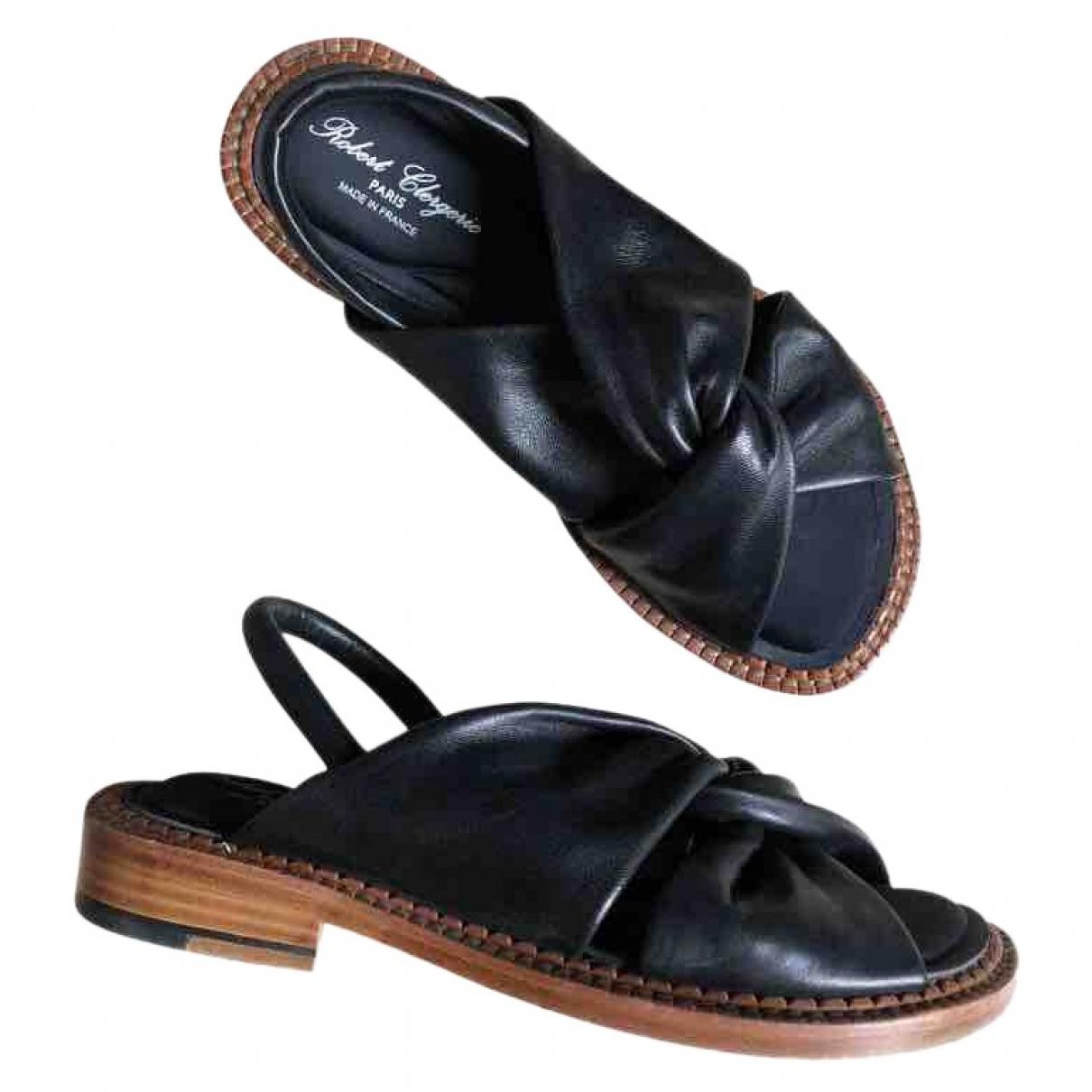 Robert Clergerie \N Black Leather Sandals for Women 37 EU