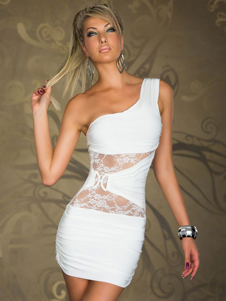 Milanoo Sexy White Club Dress 2020 One Shoulder Rhinestones Slim Fit Bodycon Dress