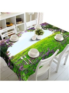 Beautiful Purple Lavenders Manor 3D Natural Scenery Square Outdoor and Home Table Cover