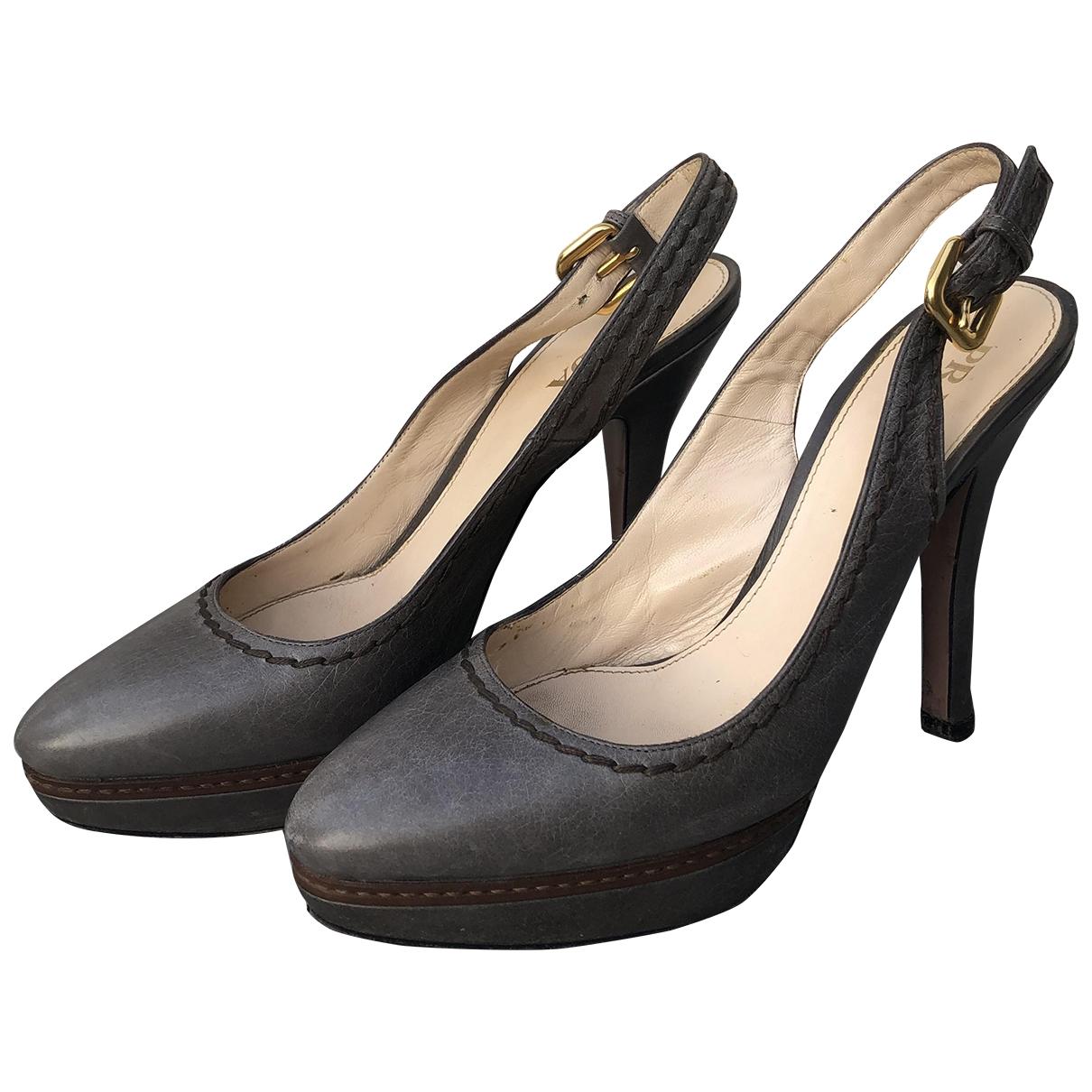 Prada \N Grey Leather Heels for Women 39 IT
