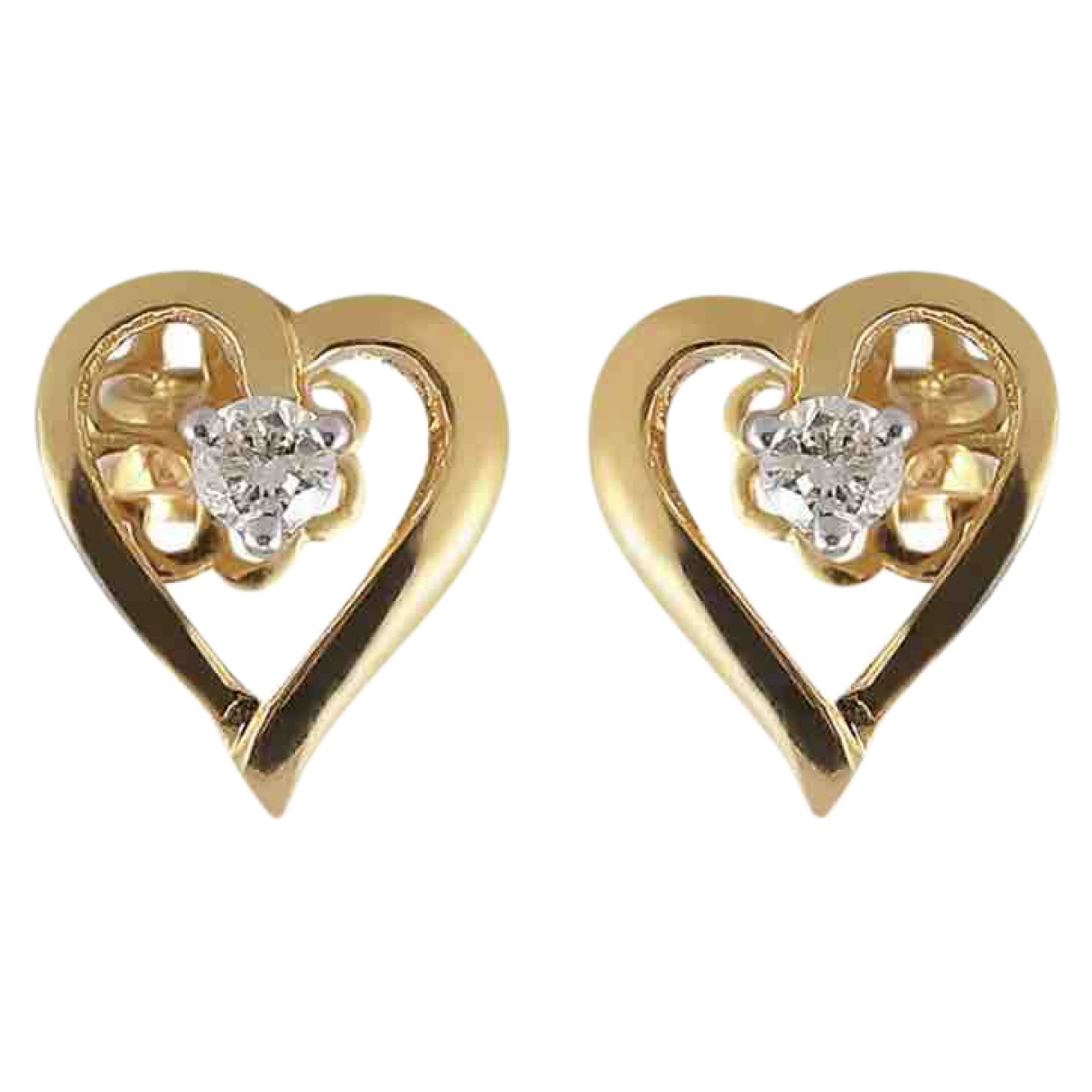 - Boucles doreilles Motifs Coeurs pour femme en or jaune - dore