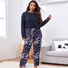 Pajama Set mit Spitzen und Blumen Muster
