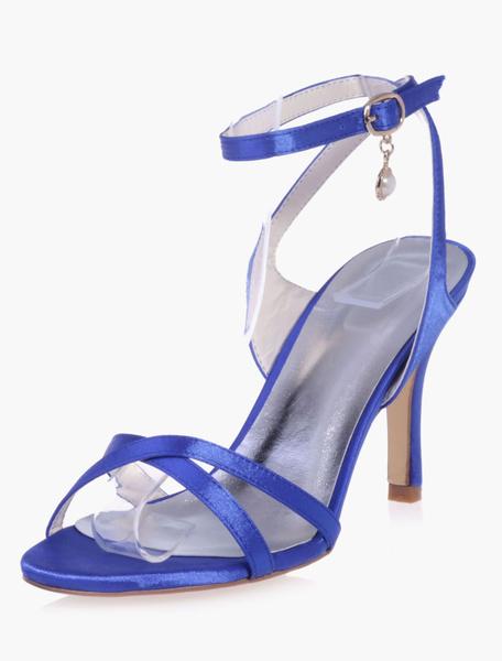 Milanoo Zapatos de novia de saten Zapatos de Fiesta de tacon de stiletto Zapatos blanco  Zapatos de boda de puntera redonda 8.5cm con perlas