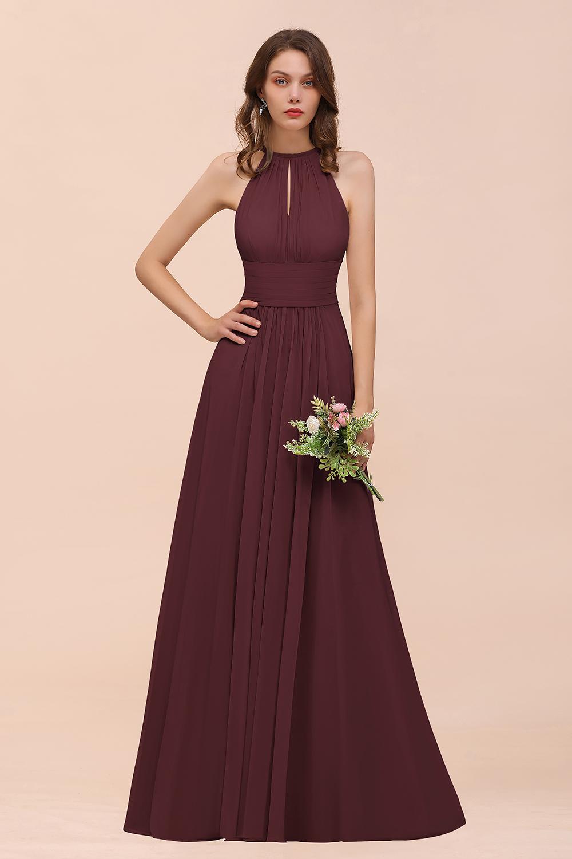 BMbridal Elegant Chiffon Jewel Ruffle Champagne Affordable Bridesmaid Dress Online