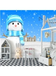 Non-woven Snowman 3D Wall Mural Eco-friendly Mould-Proof Home Decoration