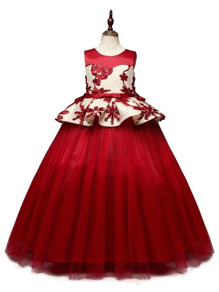 Milanoo Vestidos de niña de flores Cuello joya Tul Sin mangas Hasta el tobillo Princesa Silueta Vestidos de fiesta social para niños bordados