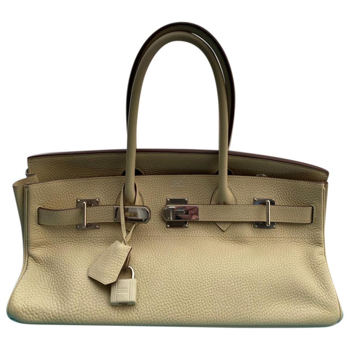Hermès Birkin Shoulder Beige Leather handbag for Women \N