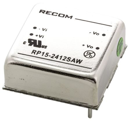 Recom RP15 AW 15W Isolated DC-DC Converter Through Hole, Voltage in 9 → 36 V dc, Voltage out 12V dc