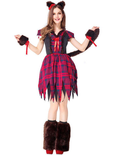 Milanoo Halloween Costumes Women\'s Animal Costumes Dark Red Wolf Oversleeves Fox Fur Holidays Costumes
