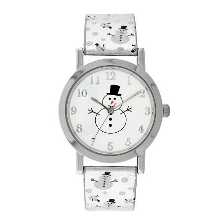 Holiday Whimsy Womens Silver Tone Leather Strap Watch-18123, One Size , No Color Family