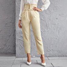 Pantalones Bolsillo Liso Elegante