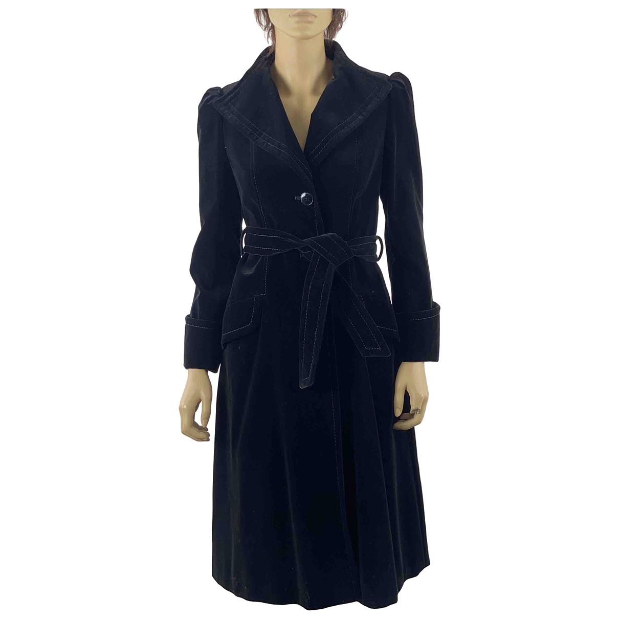 - Manteau Manche ballon pour femme en velours - noir
