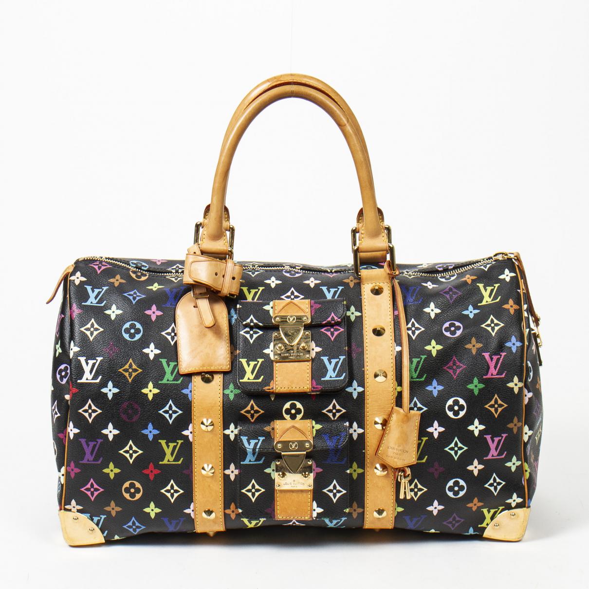 Louis Vuitton Keepall Reisetasche in  Schwarz Leinen