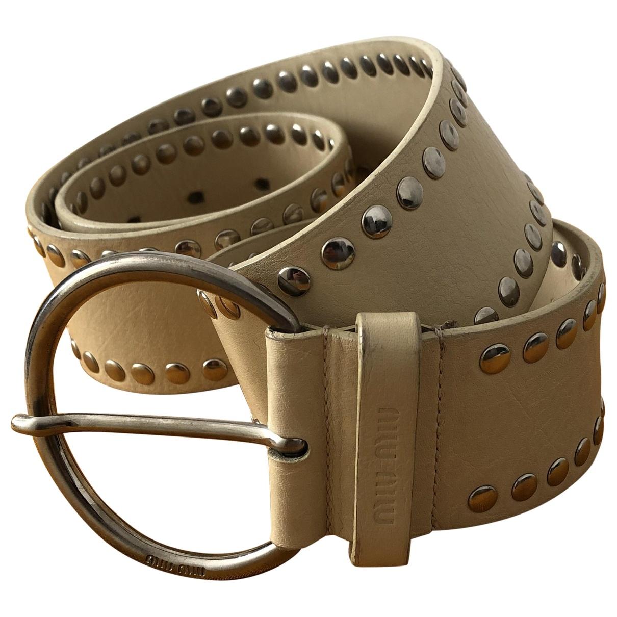 Miu Miu \N Beige Leather belt for Women 85 cm