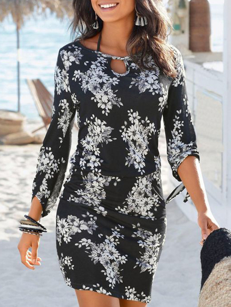 Yoins Casual Black Tie-up Design Random Floral Print Round Neck Dress