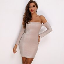 Glitter Tube Bodycon Dress With Removable Sleeve