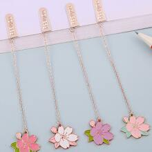 1 Stueck Zufaelliges Lesezeichen aus Metall mit Blumen Anhaenger