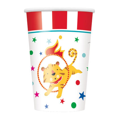 Circus Carnival 9oz Paper Cups, 8ct For Birthday Party