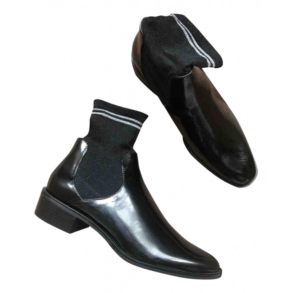 Zara \N Stiefel in  Schwarz Leinen