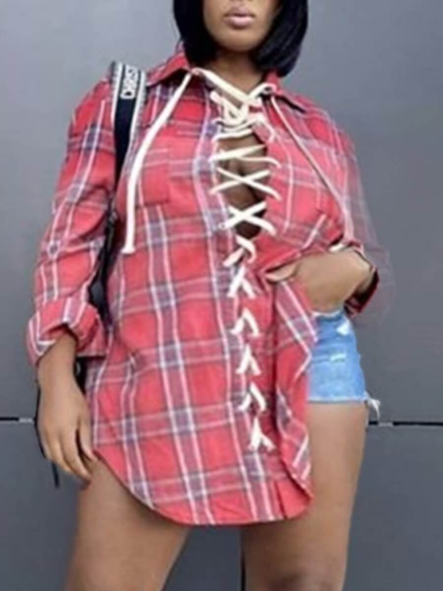 LW Lovely Casual Plaid Print Bandage Hollow-out Design Red Plus Size Blouse