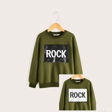 Pullover mit Buchstaben Grafik und Pailletten Flicken