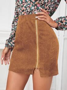 Falda mini con cremallera con aro O de pana