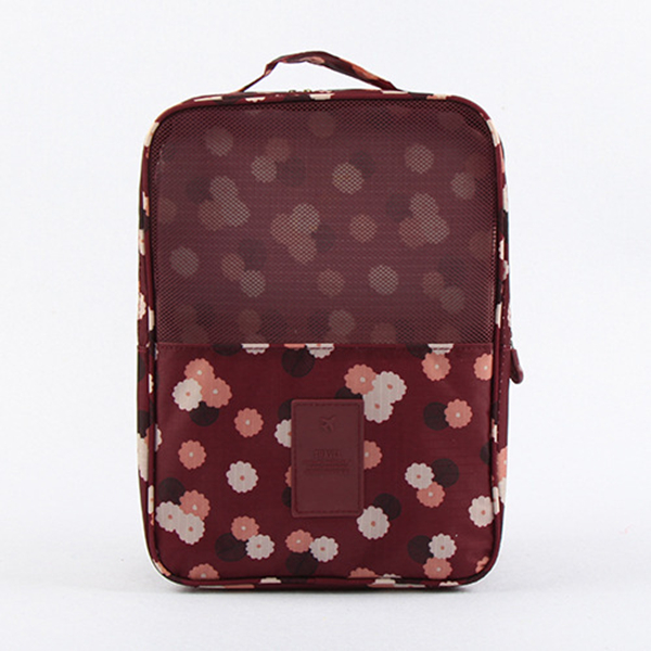Claret Daisy Printing Travel Waterproof Shoe Bag Organizer Storage for 3 Pairs of Shoes
