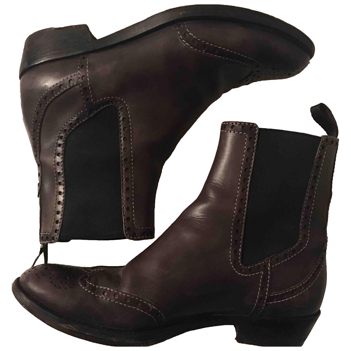 Santoni - Boots   pour femme en cuir - anthracite