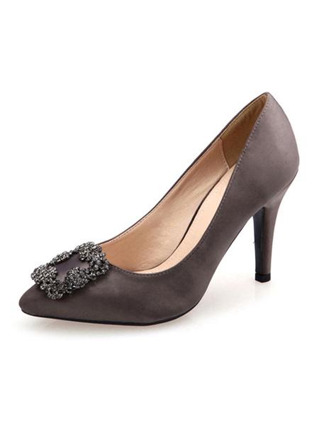 Milanoo Women\'s High Heels Slip-On Pointed Toe Stiletto Heel Metal Details Chic Low-Tops Red