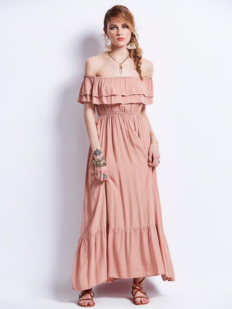 Ericdress Slash Neck Falbala Expansion Maxi Dress