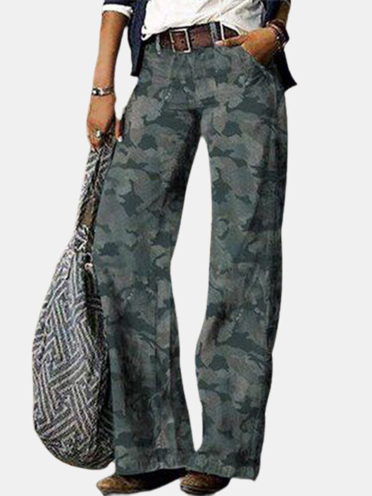 Camouflage Print Casual Denim Jeans With Pocket For Women