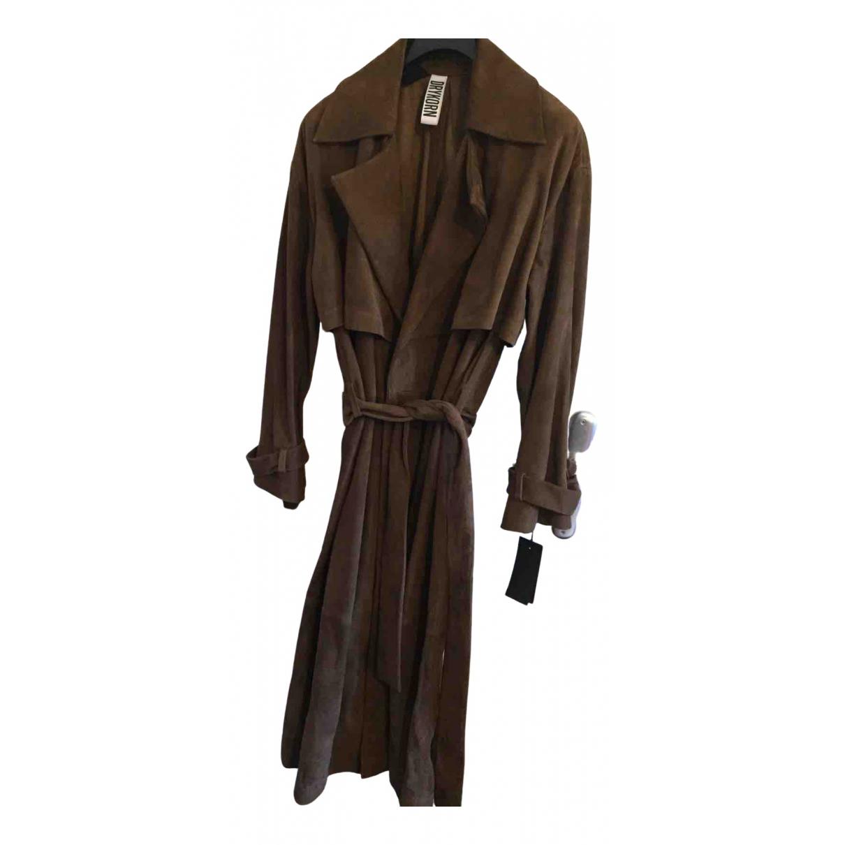 Drykorn - Manteau   pour femme en suede - marron