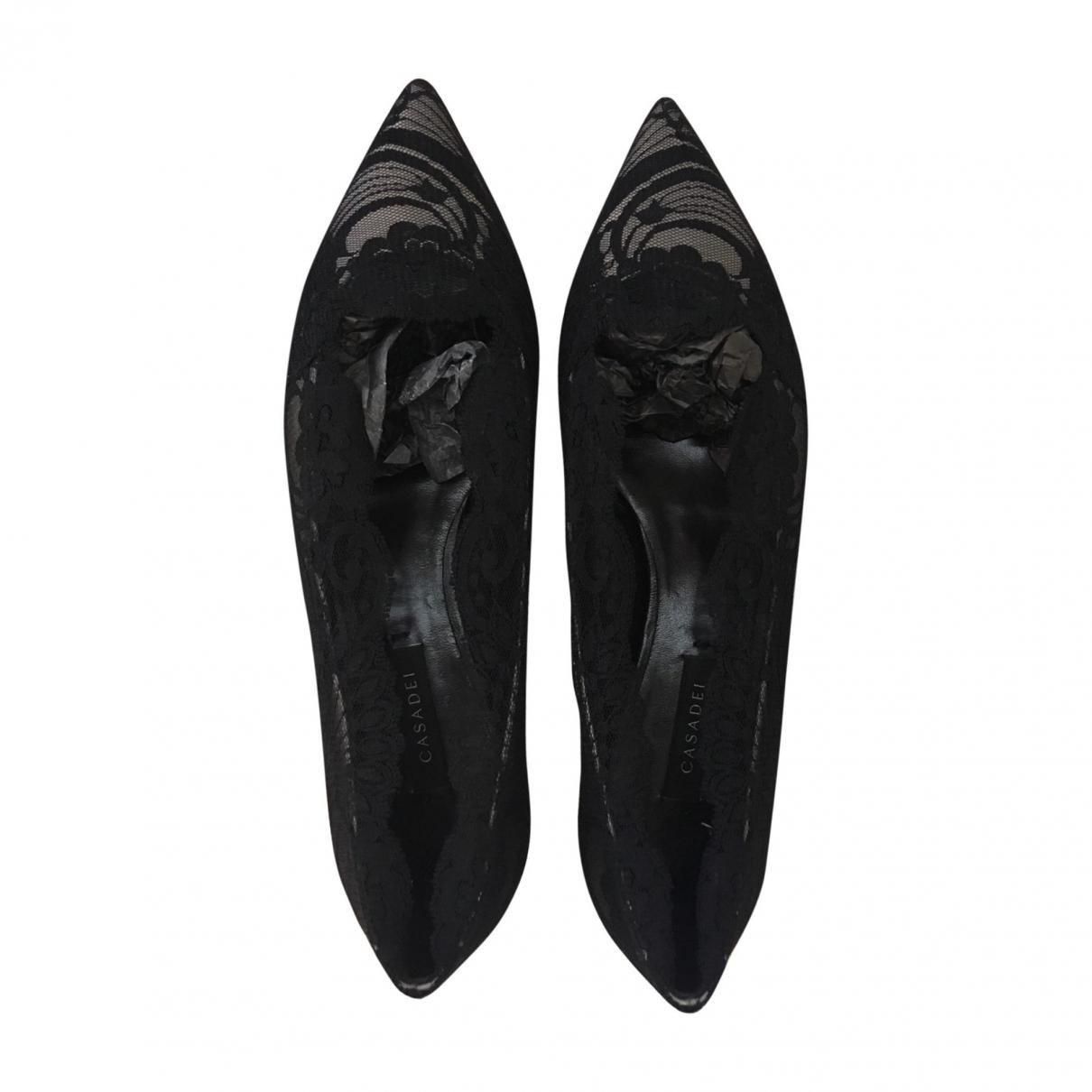 Casadei - Ballerines   pour femme en cuir - noir