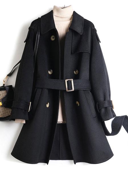 Milanoo Coat For Woman Turndown Collar Buttons Sash Casual Black Winter Coat Wrap Coat
