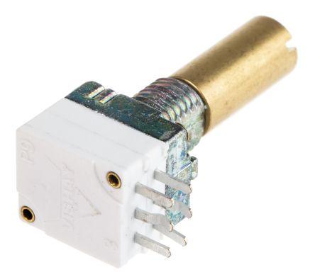 Vishay 2 Gang Rotary Conductive Plastic Potentiometer with an 6 mm Dia. Shaft - 10kΩ, ±20%, 0.025W Power Rating,