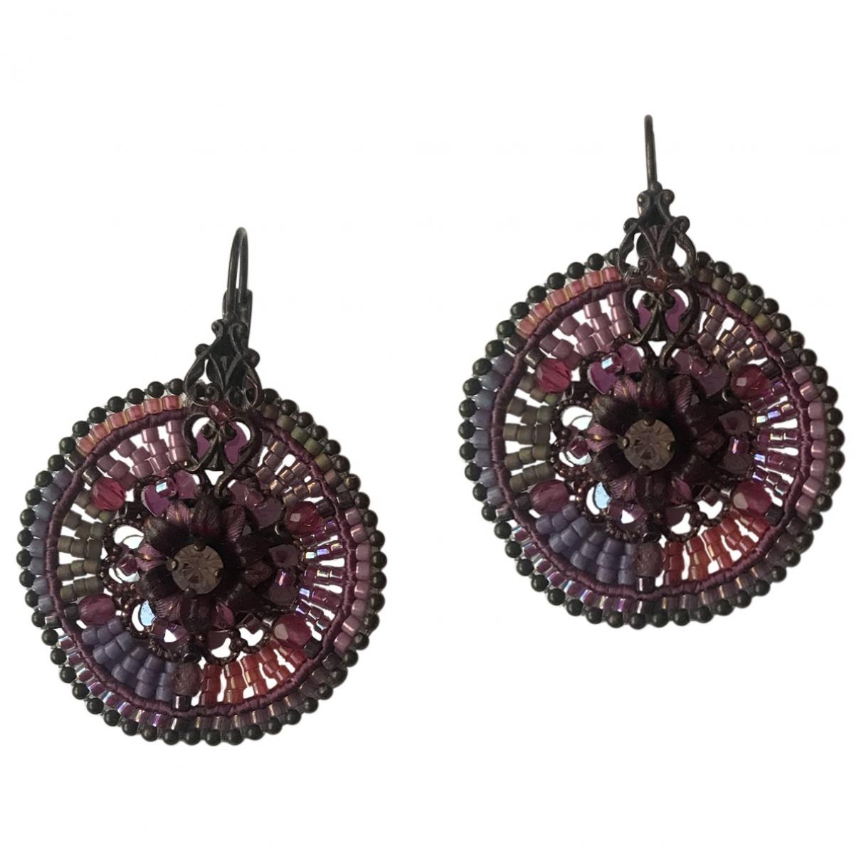 - Boucles doreilles Creoles pour femme en metal - violet