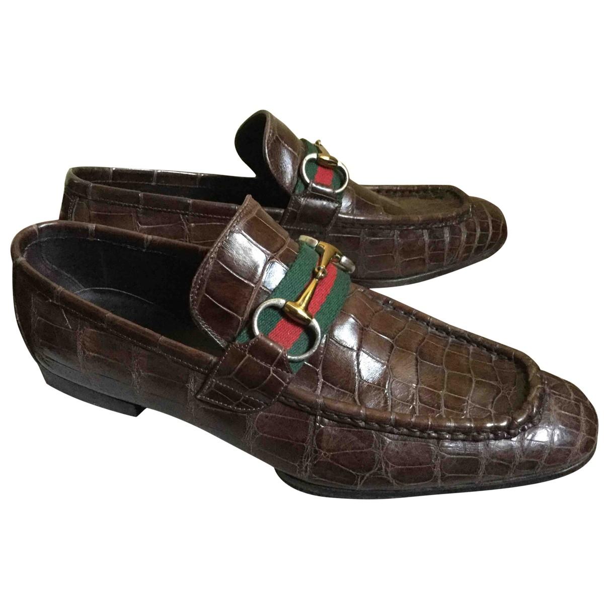 Gucci \N Brown Crocodile Flats for Men 41 EU