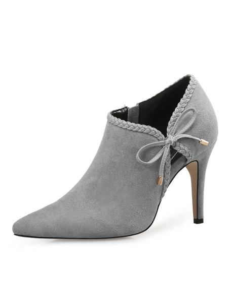 Milanoo High Heel Booties Women Shoes Brown Pointed Toe Bow Short Booties