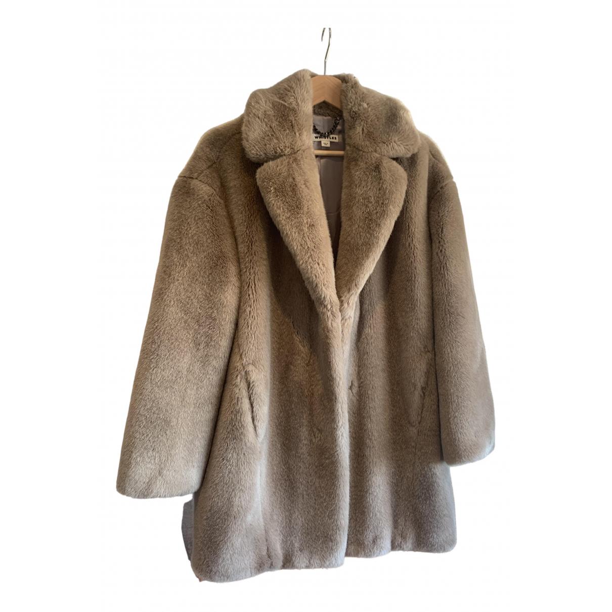 Whistles - Manteau   pour femme en fourrure synthetique - gris