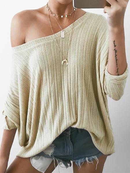 Yoins Beige Knit One Shoulder Oversize Jumper