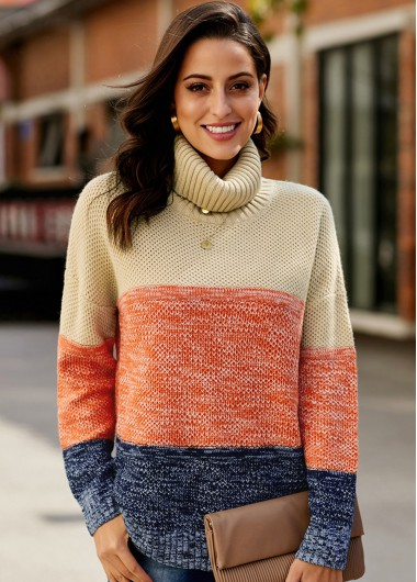 Trendy Contrast Long Sleeve Turtleneck Pullover Sweater - XL
