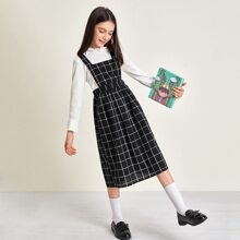 Girls Crisscross Back Grid Overall Dress