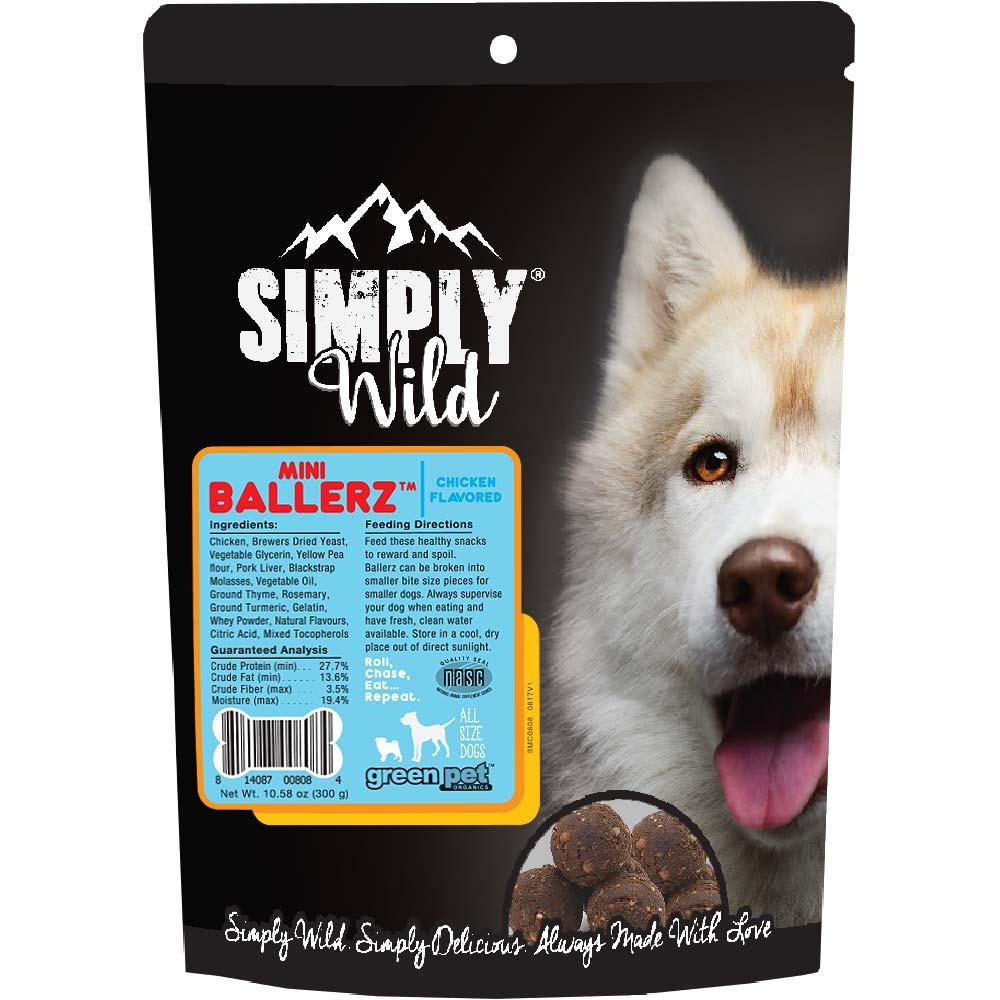 Simply Wild Mini Ballerz Chicken Dog Treats (10.5 oz)
