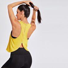 Einfarbiges Sports T-Shirt mit Tulpe Muster hinten