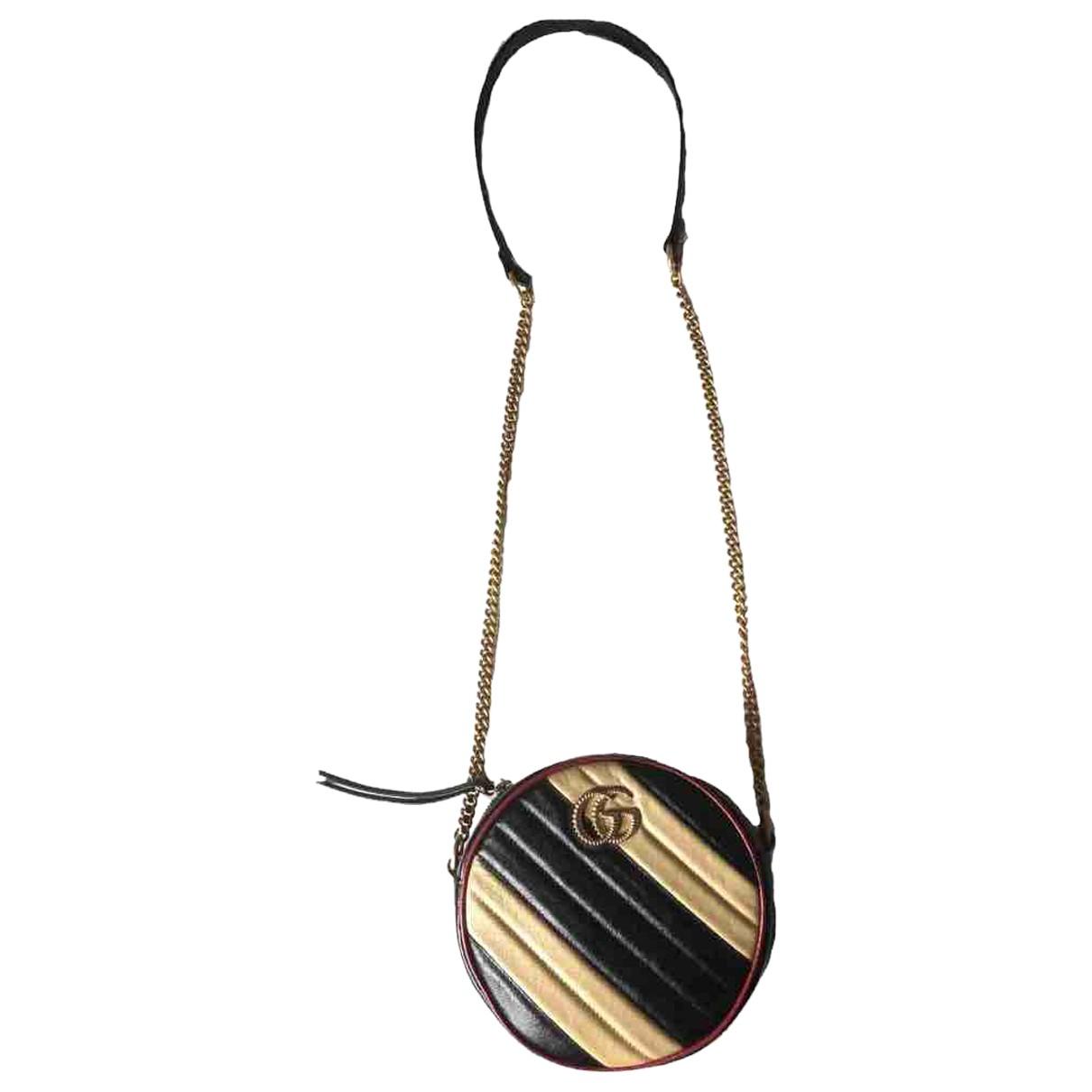 Gucci GG Marmont Circle Handtasche in  Schwarz Leder