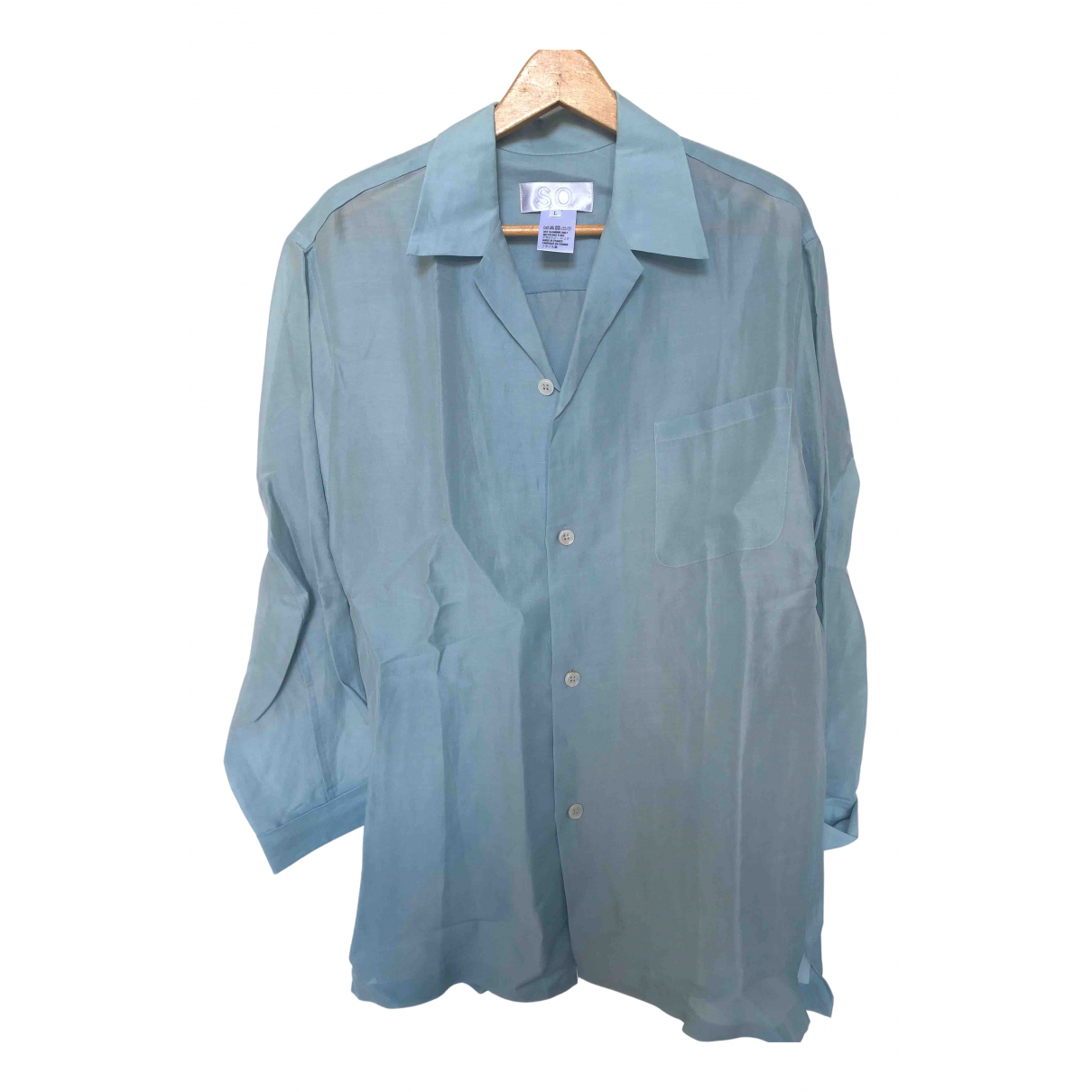 Non Signé / Unsigned N Blue Silk  top for Women L International