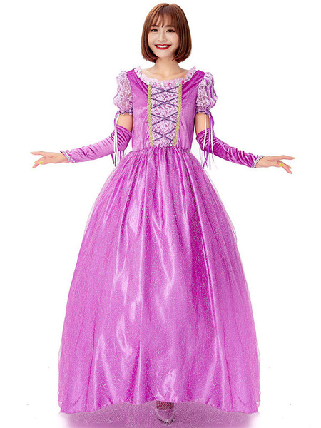 Milanoo Disfraz Halloween Disfraces de Halloween Vestido de manga larga de princesa para mujer Disfraces de Halloween estampados de terciopelo Carnava