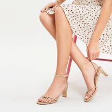 Square Toe Knot Detail Buckle Ankle Kitten Heels