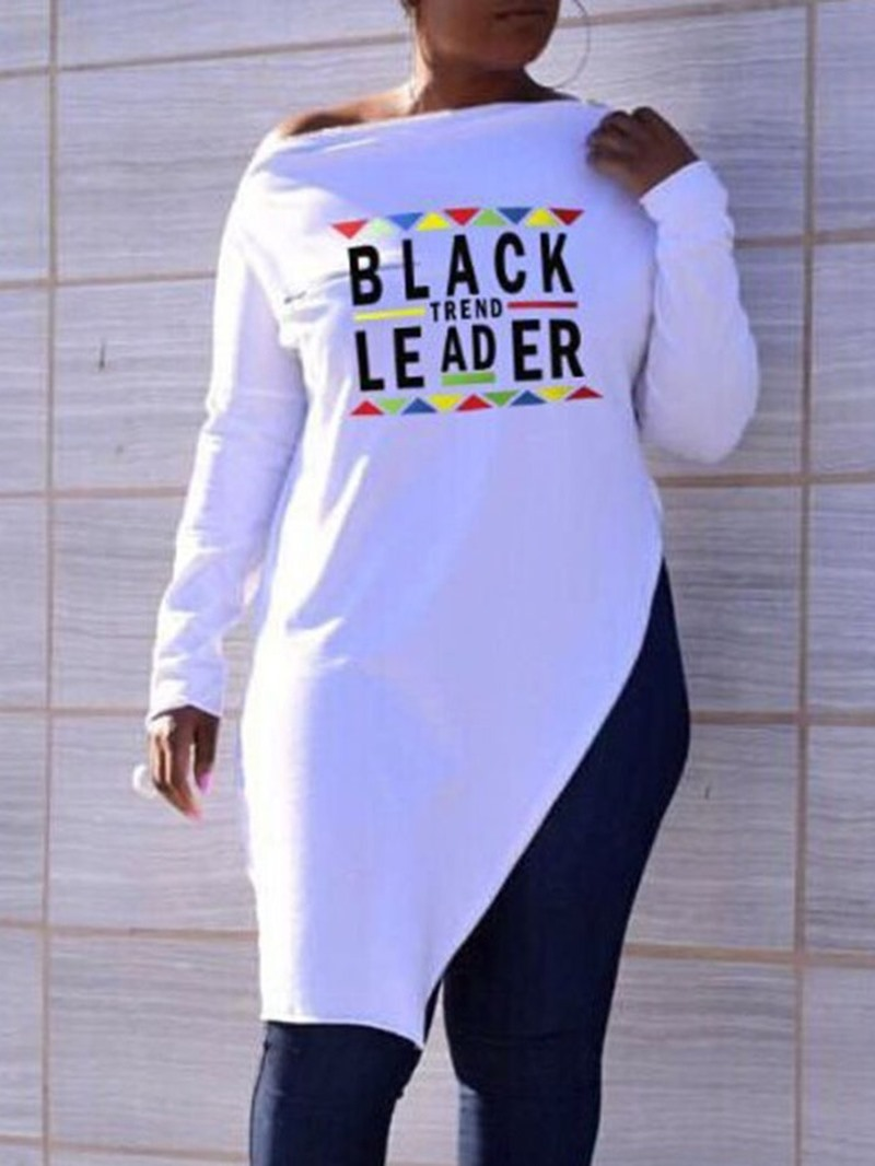 Ericdress Asymmetric Long Sleeve Mid-Length Letter Slim Casual T-Shirt