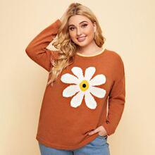 Pullover mit Blumen Grafik und sehr tief angesetzter Schulterpartie